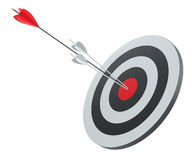 Arrow hit the center of red target. 3D Illustration Stock Photography
