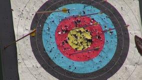 Arrow hit goal ring in archery target stock video
