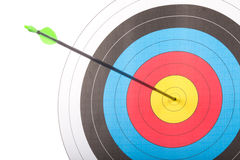 Arrow hit goal ring in archery target Stock Images