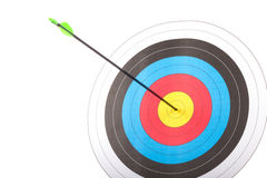 Arrow hit goal ring in archery target Royalty Free Stock Photography