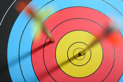 Arrow hit target. One hit bull's eye - one missed royalty free stock image