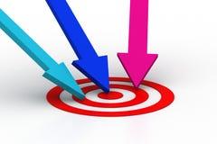 Arrow hit on the target icon Stock Photos