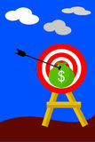 Arrow Hit A Target ($), Illustration for Hit the Target Royalty Free Stock Photography