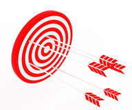 The arrow hit the target. The red-and-white composition Royalty Free Stock Image