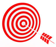The arrow hit the target. The red-and-white composition Royalty Free Stock Images