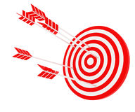The arrow hit the target. The red-and-white composition Royalty Free Stock Photos