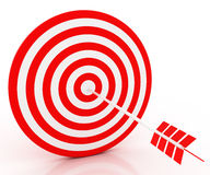 The arrow hit the target. The red-and-white composition Stock Image
