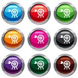 Arrow hit the target set 9 collection. Arrow hit the target set icon  on white. 9 icon collection vector illustration Royalty Free Stock Images