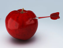 Arrow Hitting the apple. success concept. 3d illustration Stock Image