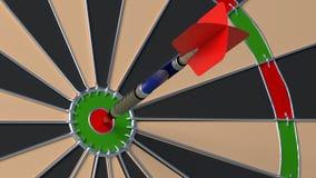 Arrow hitting the bulls eye on a dartboard. Closeup 3D illustration Stock Image