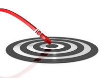 Arrow hitting the center of target. 3D illustration Royalty Free Stock Photo