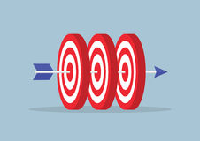 Arrow hitting center of the three targets Stock Images