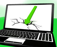 Arrow Hitting Ground On Laptop Shows Drop On Sales Royalty Free Stock Photo