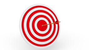 Arrow hitting a target board. 3D animation of an arrow hitting a target board on white background stock video