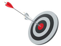 Arrow hitting target. Business concept. 3D Illustration Royalty Free Stock Images