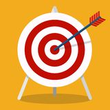 Arrow hitting a target. Business concept.Icon isolated on background. Vector flat icon. Vector flat icon. Arrow hitting a target. Business concept.Icon isolated stock illustration