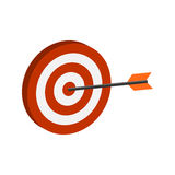 Arrow hitting target symbol. Flat Isometric Icon or Logo. Royalty Free Stock Photography