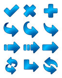 Arrow icon blue set Royalty Free Stock Photos