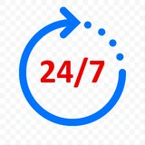 24 7 arrow icon, customer support, delivery and 24 hours, 7 days week open symbol. Vector round clock arrow sign. 24 7 arrow icon, customer support, delivery and vector illustration