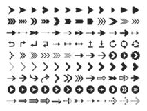Arrow Icon. Infographic arrows sign, next or back web button and right pointer vector silhouette icons set stock illustration