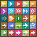 25 arrow icon set. Flat UI design trend, vector illustration of web design elements Stock Photo