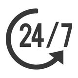 24 7 with arrow icon. Simple grey circular arrow 24 7 icon  illustration flat style design Royalty Free Stock Image