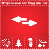 Arrow Icon Vector. And bonus symbol for New Year - Santa Claus, Christmas Tree, Firework, Balls on deer antlers Stock Image