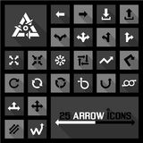 Arrow icons. 25 arrow icons black white icons vector Royalty Free Stock Images