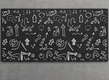 Arrow icons on blackboard. Arrow icons set collections on blackboard, close up Stock Photos