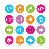 Arrow icons. Collection of 16 arrow icons in colorful buttons vector illustration