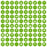 100 arrow icons hexagon green. 100 arrow icons set in green hexagon isolated vector illustration Stock Images