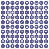 100 arrow icons hexagon purple. 100 arrow icons set in purple hexagon isolated vector illustration Stock Photo