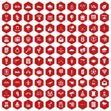 100 arrow icons hexagon red. 100 arrow icons set in red hexagon isolated vector illustration Stock Photography