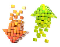 Arrow icons made of glossy cubes. Pair of arrow icon made of glossy cubes isolated on white Stock Photo
