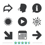 Arrow icons. Next navigation signs symbols. Arrow icons. Next navigation arrowhead signs. Direction symbols. Information, go to web and calendar icons. Sun and stock illustration