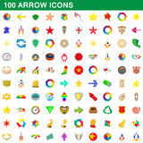 100 arrow icons set, cartoon style. 100 arrow icons set in cartoon style for any design vector illustration Stock Photos