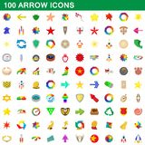 100 arrow icons set, cartoon style. 100 arrow icons set in cartoon style for any design illustration stock illustration