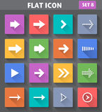 Arrow Icons set in flat style with long shadows. Royalty Free Stock Images