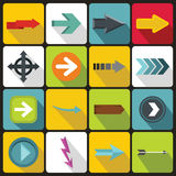 Arrow icons set, flat style Royalty Free Stock Photo