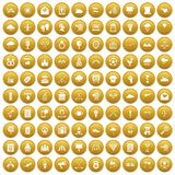 100 arrow icons set gold. 100 arrow icons set in gold circle isolated on white vectr illustration stock illustration