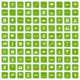 100 arrow icons set grunge green Royalty Free Stock Photo
