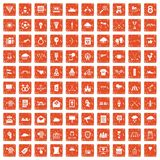 100 arrow icons set grunge orange. 100 arrow icons set in grunge style orange color isolated on white background vector illustration Stock Image