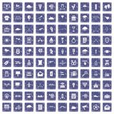 100 arrow icons set grunge sapphire. 100 arrow icons set in grunge style sapphire color isolated on white background vector illustration Stock Image