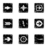Arrow icons set, grunge style. Arrow icons set. Grunge illustration of 9 arrow vector icons for web Stock Image