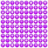 100 arrow icons set purple. 100 arrow icons set in purple circle isolated vector illustration stock illustration