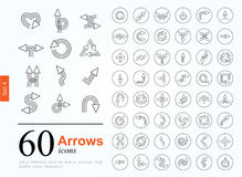 60 arrow icons. Set of arrow icons for website or internet services. 60 design line icons high quality, vector illustration royalty free illustration