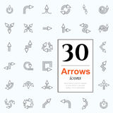30 arrow icons. Set of arrow icons for website or internet services. 30 design line icons high quality, vector illustration Royalty Free Stock Photography
