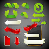 Arrow icons, symbols and banners Stock Images