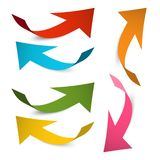 Arrow Icons. Vector Colorful Paper Bent Arrows Set vector illustration