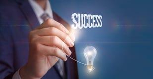 Arrow from idea to success. stock photos